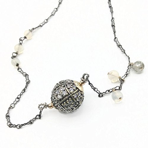 Antique Opal Diamond & Sapphire Necklace