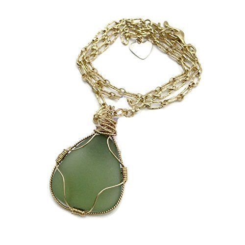 Frosted Green Sea Glass Necklace - Van Der Muffin's Jewels