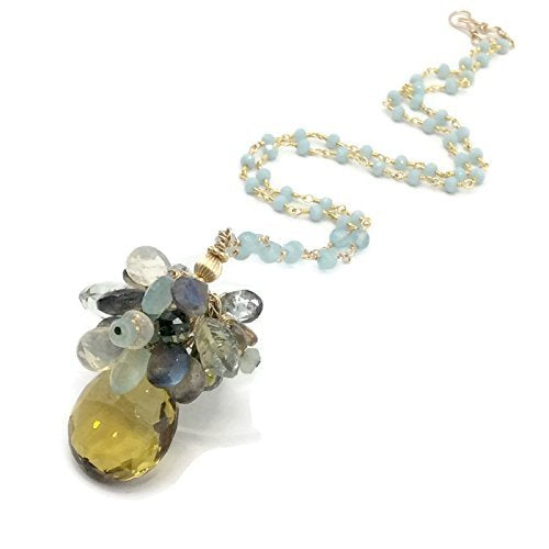 Yellow Topaz Gemstone Cluster Necklace