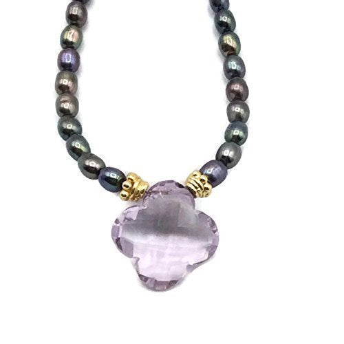 Lilac Amethyst Lucky Clover Necklace