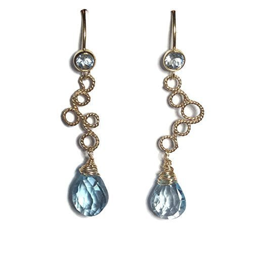 *Blue Topaz Filigree Earrings