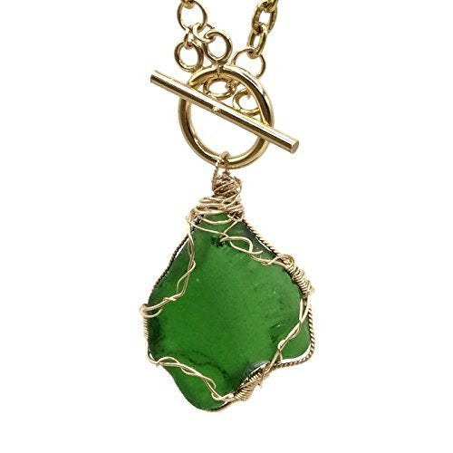 Chunky Green Sea Glass Necklace