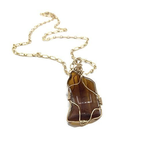 Amber Brown Sea Glass Necklace - Van Der Muffin's Jewels