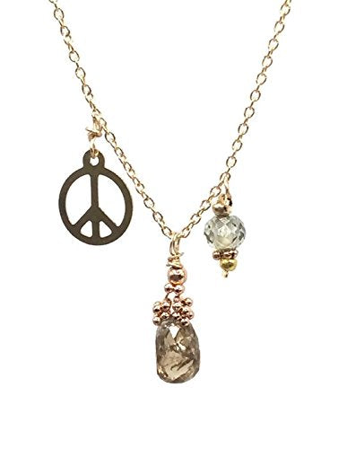 1.8 Carat Diamond 'Peace' Necklace ~ 14k Gold