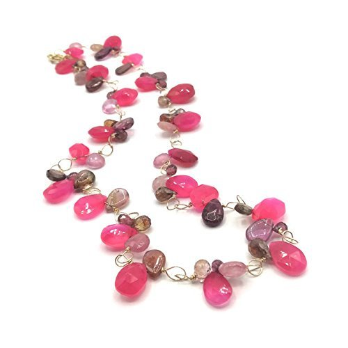 Bright Pink Clustered Gemstone Necklace