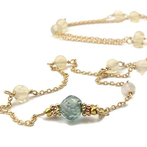 14K Tiffany Blue Diamond Opal Rosary Bead Necklace - Van Der Muffin's Jewels