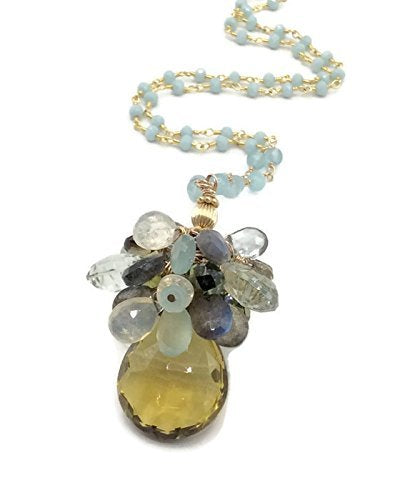 Yellow Topaz Gemstone Cluster Necklace - Van Der Muffin's Jewels