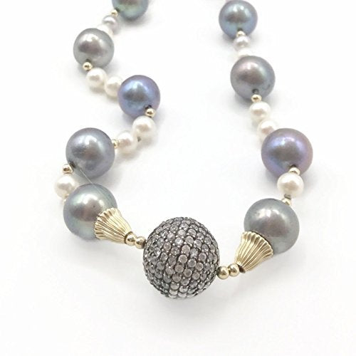 14K Pave Beaded Pearl Statement Necklace