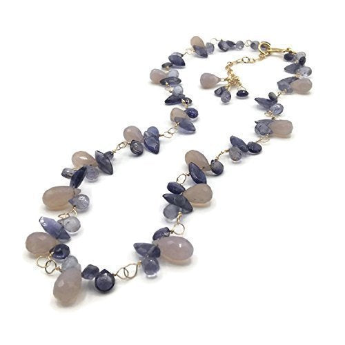 Purple Wisteria Gemstone Cluster Necklace