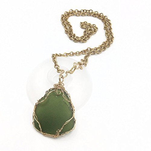 Forest Green Sea Glass Necklace - Van Der Muffin's Jewels