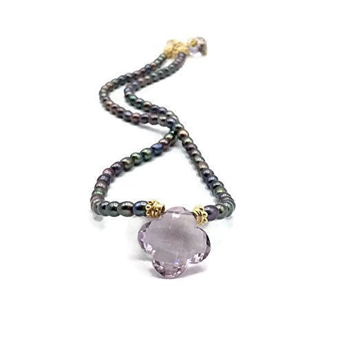 *Lilac Amethyst Clover Necklace - Van Der Muffin's Jewels
