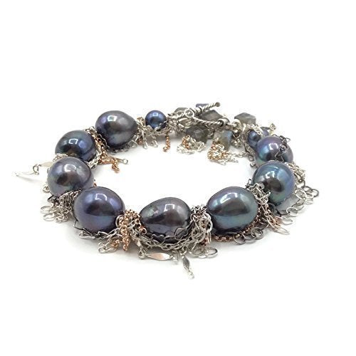 Statement Black Pearl Fringe Bracelet