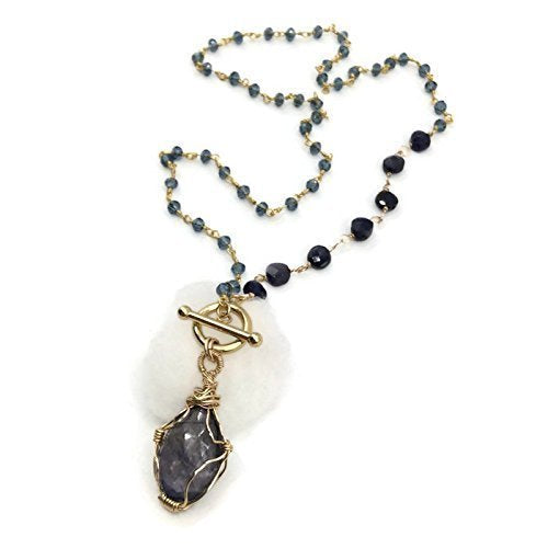 Purple Iolite Wrapped Gemstone Necklace