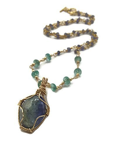 Emerald BeadedTanzanite Celebration Necklace