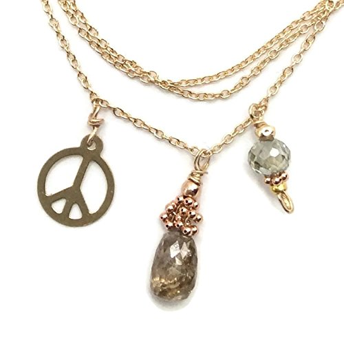 14K Champagne Diamond Peace Necklace