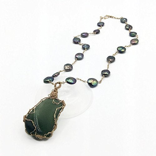Elegant Teal Sea Glass Necklace