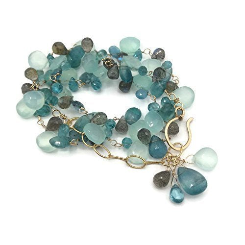 'Tiffany Blue' Gemstone Cluster Necklace