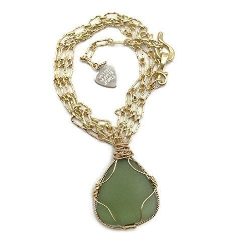 Frosted Green Sea Glass Necklace