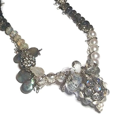 Moonstone and Pearl Assemblage Necklace