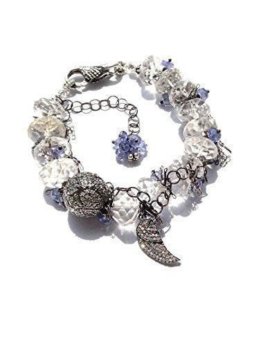 Pave Sapphire Angel Wing Bracelet - Van Der Muffin's Jewels