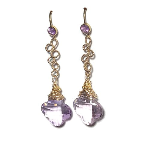 Amethyst Lucky Clover Earrings