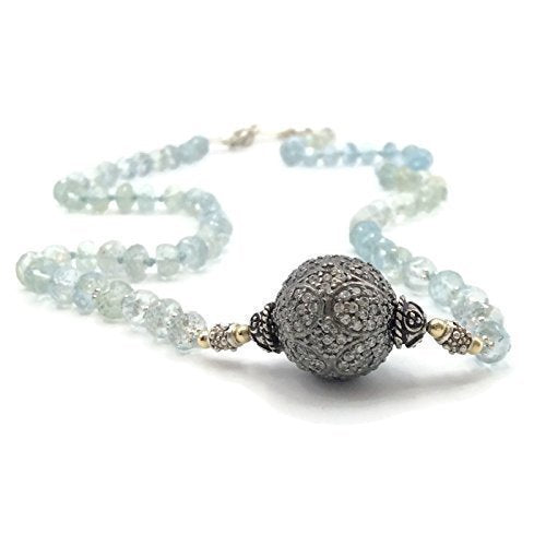 Aquamarine Beaded Pave Sapphire Necklace - Van Der Muffin's Jewels