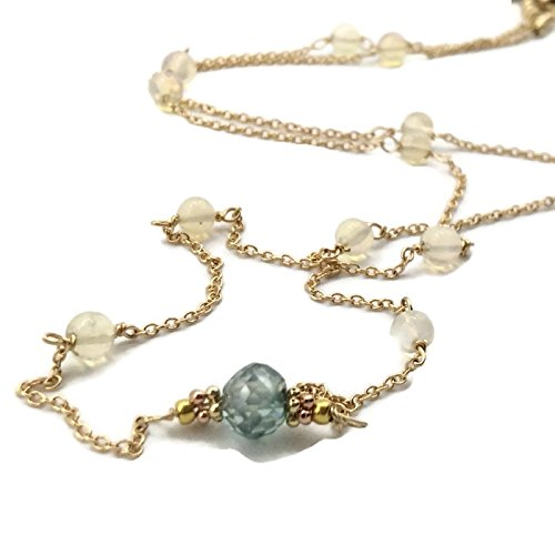 14K Tiffany Blue Diamond Opal Rosary Bead Necklace