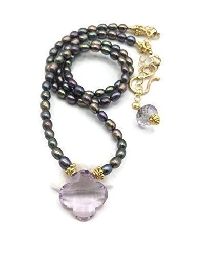 *Lilac Amethyst Clover Necklace