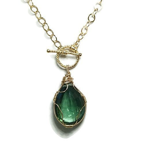 * 30.0 Carat Emerald Green Topaz Necklace