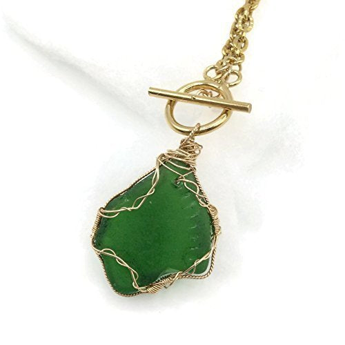 Chunky Green Sea Glass Necklace - Van Der Muffin's Jewels