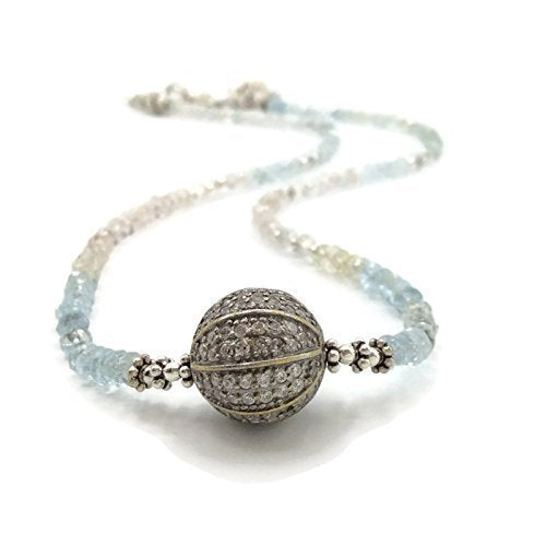 Ombre Aquamarine Pave Sapphire Necklace - Van Der Muffin's Jewels