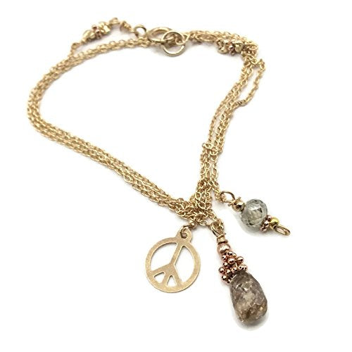 1.8 Carat Diamond 'Peace' Necklace ~ 14k Gold - Van Der Muffin's Jewels