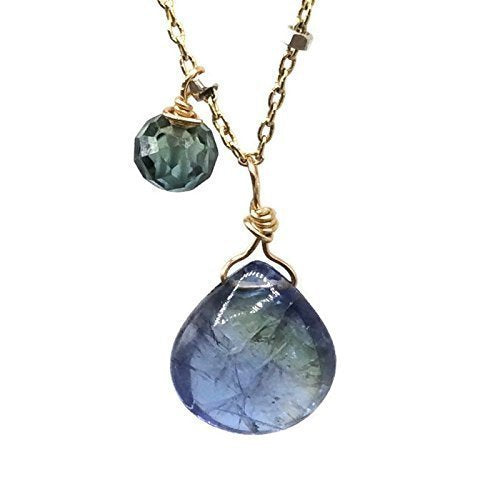 Blue Diamond Tanzanite Teardrop Necklace