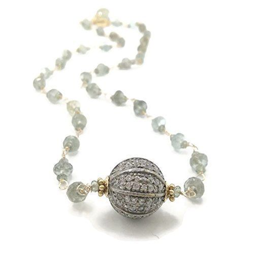 Moss Aquamarine Pave Sapphire Necklace - Van Der Muffin's Jewels