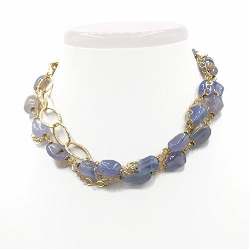 Elegant Blue Chalcedony Statement Necklace