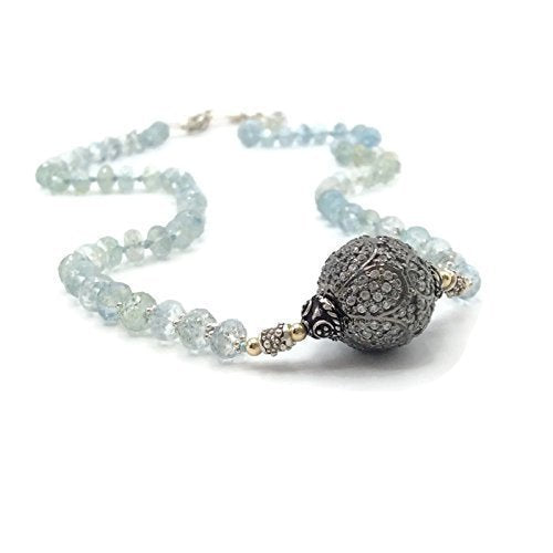 Aquamarine Beaded Pave Sapphire Necklace