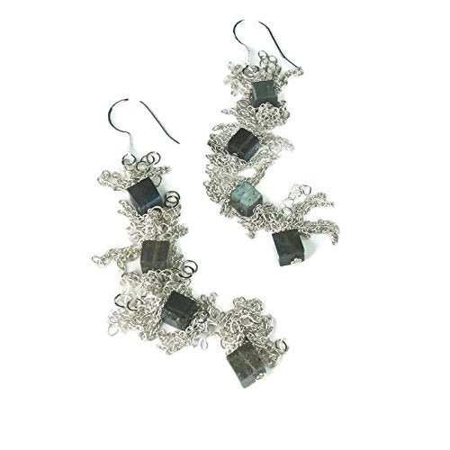 Fringed Labradorite Statement Earrings - Van Der Muffin's Jewels