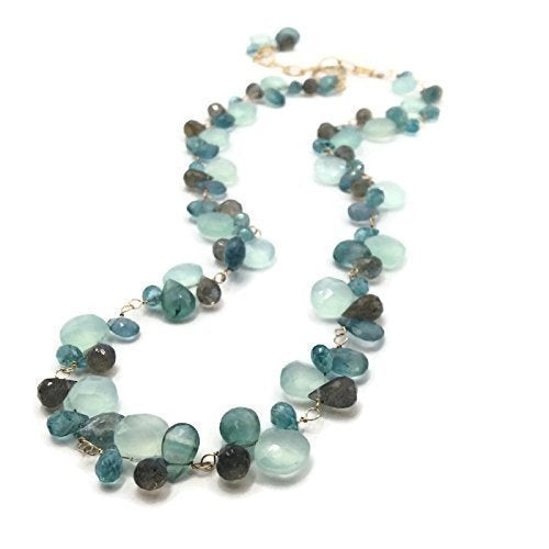 Tiffany Blue Gemstone Cluster Necklace
