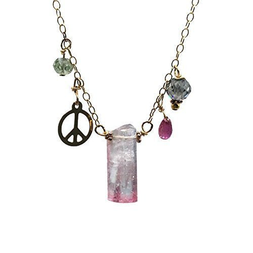 14K Peace Sign Diamond Charm Necklace