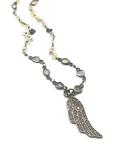 1.5 Carat Pave Diamond Angel Wing Necklace - Van Der Muffin's Jewels