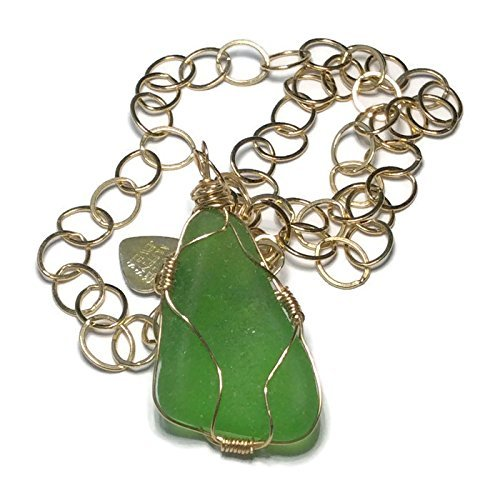 Bright Green Sea Glass Necklace
