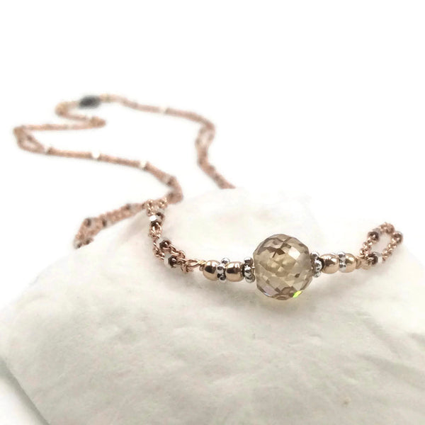 2.50 Carat Antique Yellow Diamond Necklace