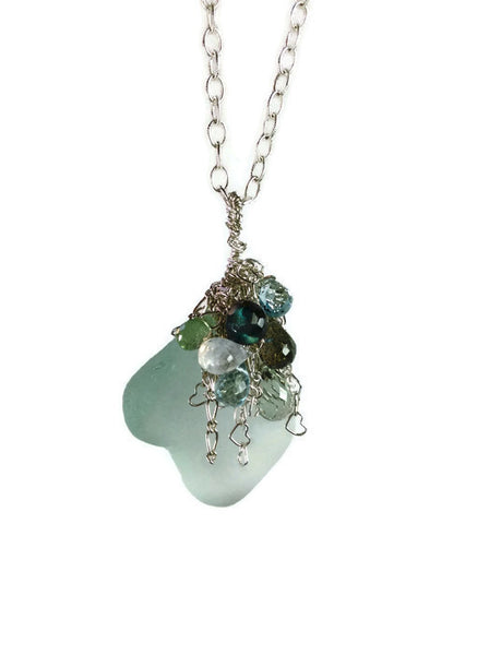 Sea Glass Cluster Necklace