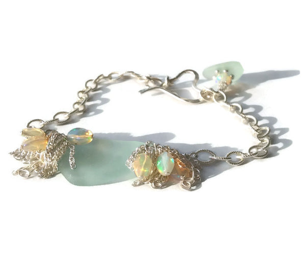 Aqua Sea Glass Bracelet - Van Der Muffin's Jewels