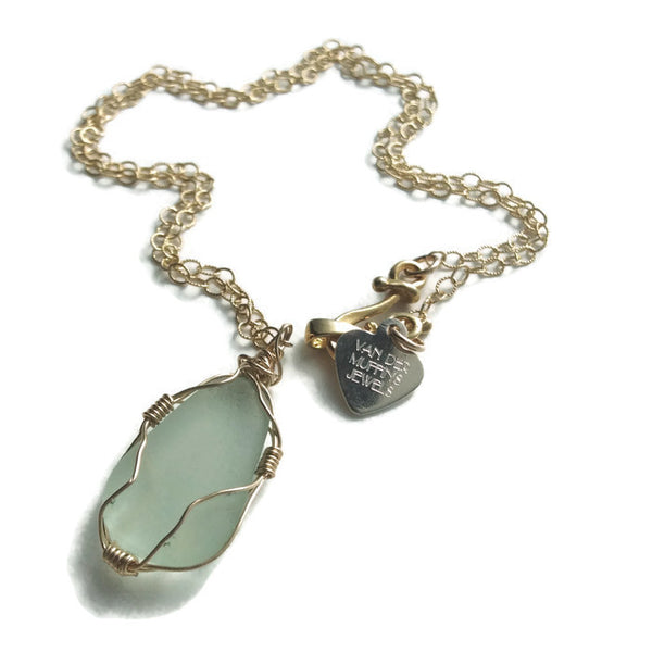 Mint Sea Glass Necklace - Van Der Muffin's Jewels