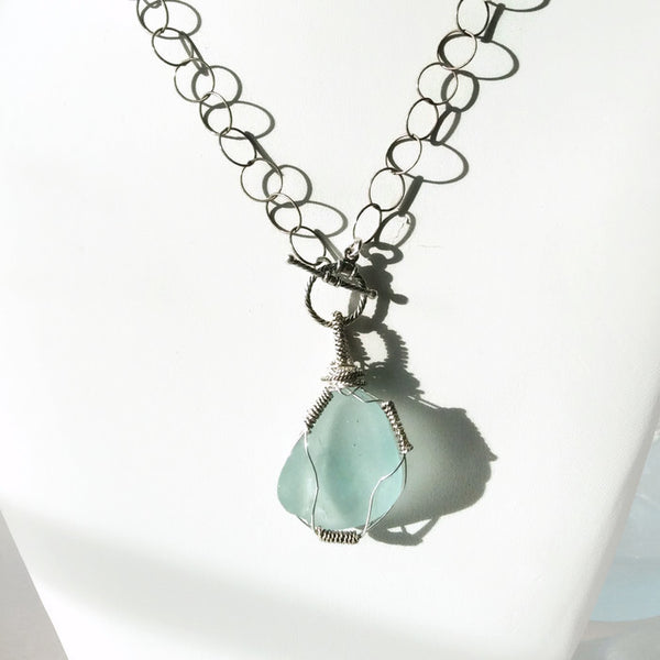 Turquoise Sea Glass Necklace - Van Der Muffin's Jewels - 3
