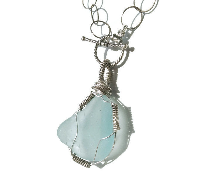 Turquoise Sea Glass Necklace - Van Der Muffin's Jewels - 1