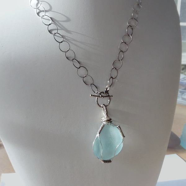 Turquoise Sea Glass Necklace - Van Der Muffin's Jewels - 5