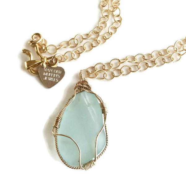 Turquiose Sea Glass Necklace - Van Der Muffin's Jewels