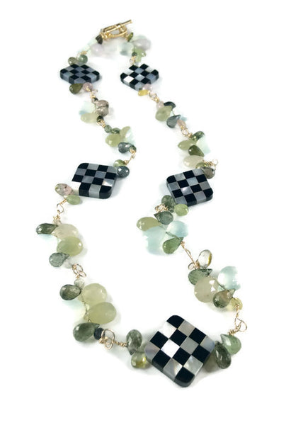 Spearmint Gemstone Cluster Necklace - Van Der Muffin's Jewels